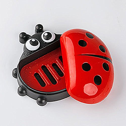 - mk. park - Home Ladybug Bathroom Shower Travel Soap Box Dish Plate Holder Case Container (Red)