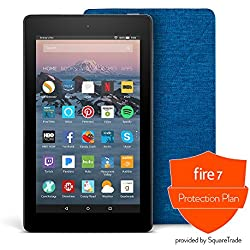 All-New Fire 7 Protection Bundle with Fire 7 Tablet (8 GB, Black), Amazon Cover (Marine Blue) and Protection Plan (1-Year)