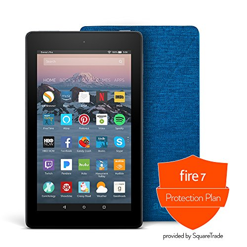 Fire 7 Protection Bundle with Fire 7 Tablet (8 GB, Black), Amazon Cover (Marine Blue) and Protection Plan (2-Year)
