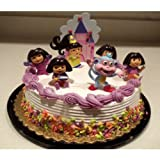 Dora the Explorer and Boots the Monkey 7 Piece Birthday Cake Topper Set with Figures and Princess Dora Castle