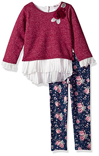 Little Lass Little Girls' 2 Pc Accordion Hem Legging Set, Wine, 4