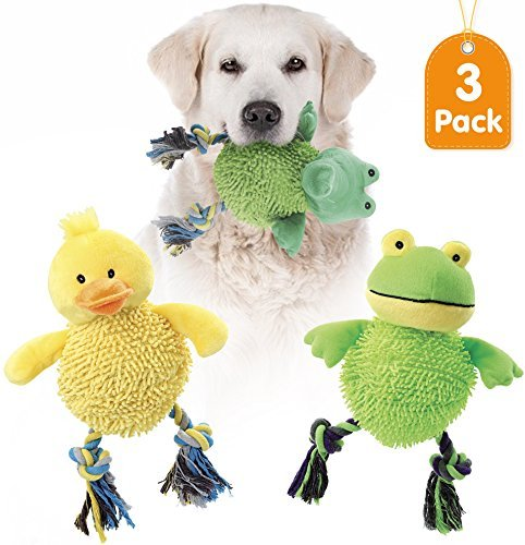 Dog Plush Toy Rubber (KLEEGER Laughing Large Plush Dog Toy: Tough Puppy Chew/Teething/Tug Of War Toy That Chuckles When Shaken (Set Of 3))