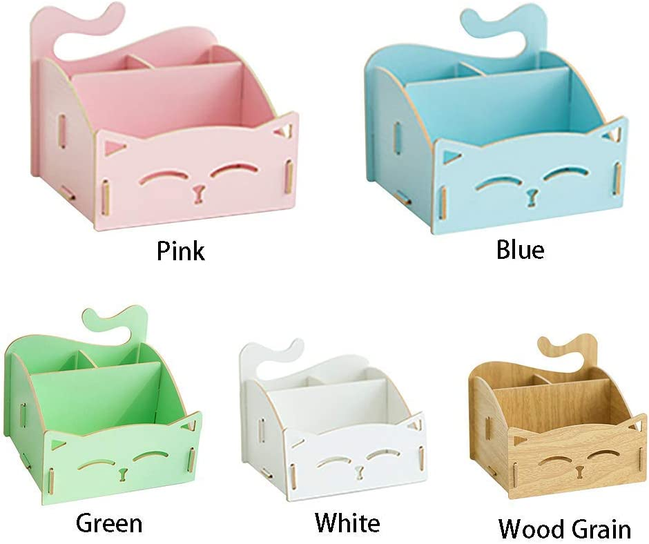 Cat Shape Pen Stand Desk Organizer Box Stationary Makeup Storage for Home and Office xiegons0 Desk Wooden Pen Holder