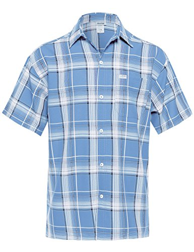 Western Casual Short Sleeves Plaid Button Up Chest Pocket Shirt Sky - Shopping Mall Sky
