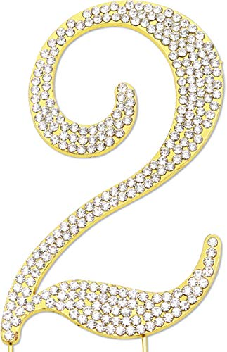 Sparkly Rhinestones Number 2 Cake Topper, Birthday Wedding Anniversary Gold Number 2