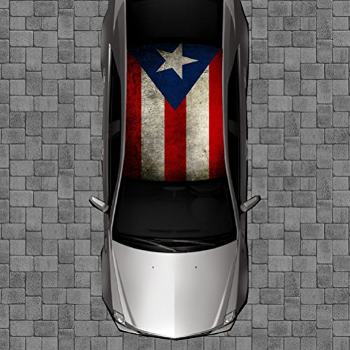 Sign Factory R59 Puerto RICO Flag Roof Wrap - Decal Decals Wraps Vinyl Wraps Art Poster Image Carbon Hood Car Truck Fiber Hood