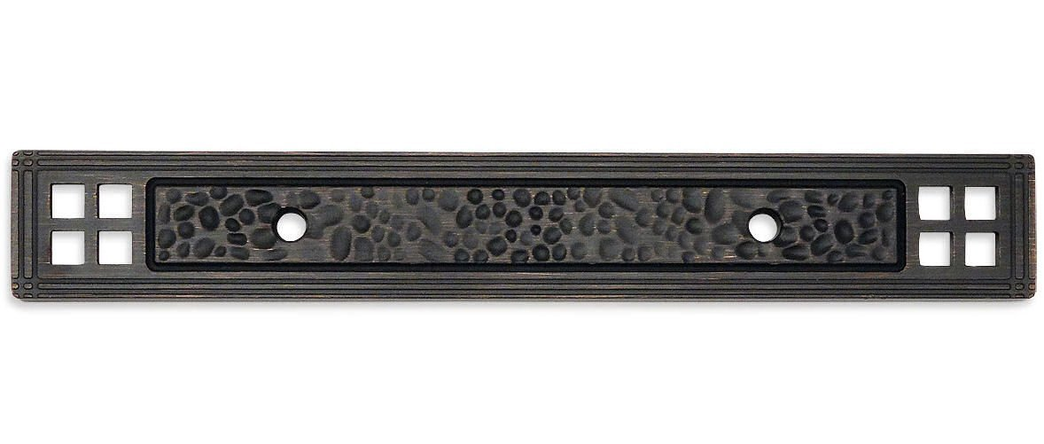 25 Pack - Cosmas 10554ORB Oil Rubbed Bronze Hammered Cabinet Handle Pull Backplate Back Plate Hardware - 3'' Inch Hole Centers by Cosmas