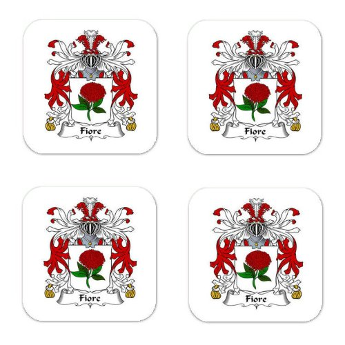 Fiore Family Crest Square Coasters Coat of Arms Coasters - Set of 4