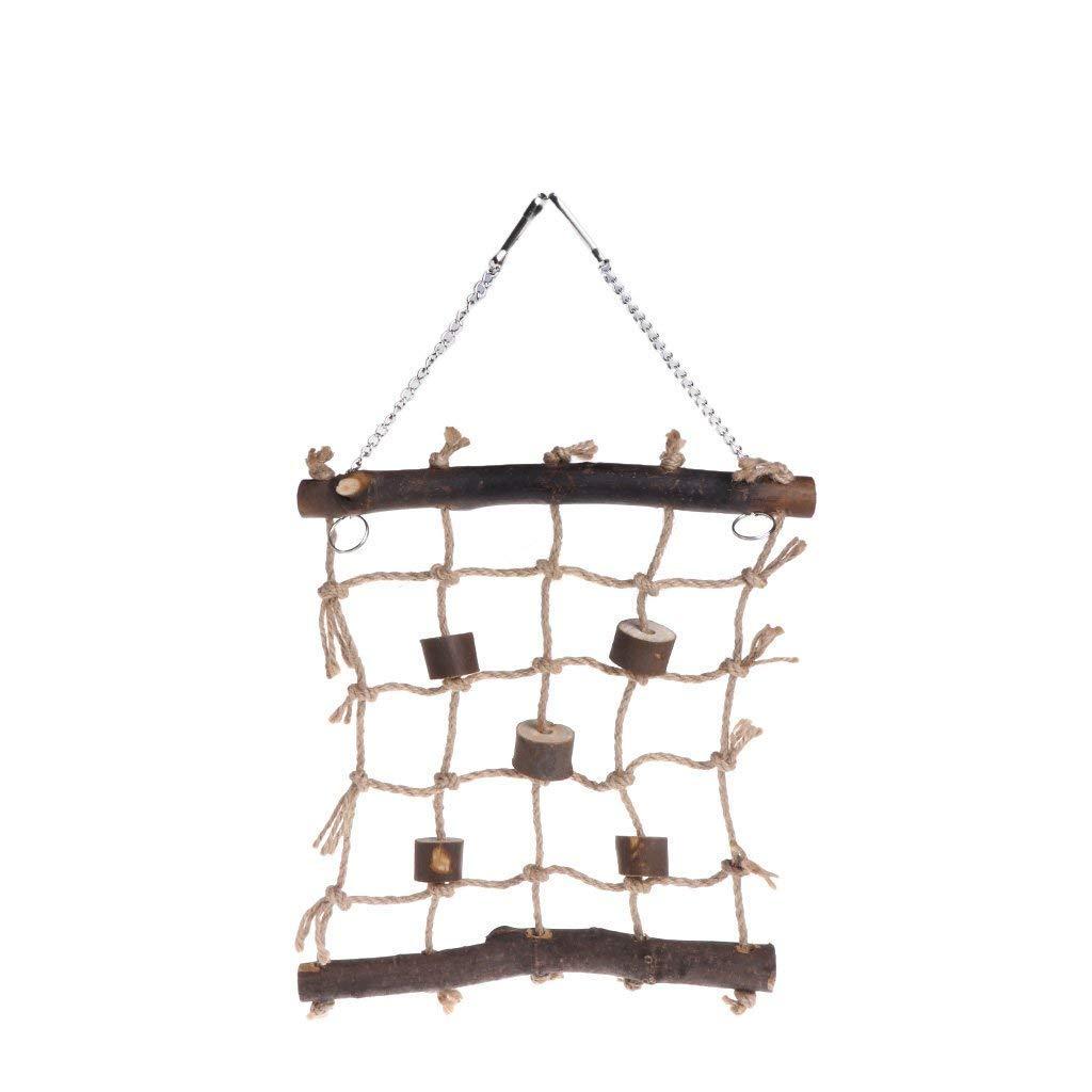 Hanging Hemp Wood Bird Swing Ladder Parrot Climbing Net Cage Game Bird Gym Toys Premium Quality by Yevison