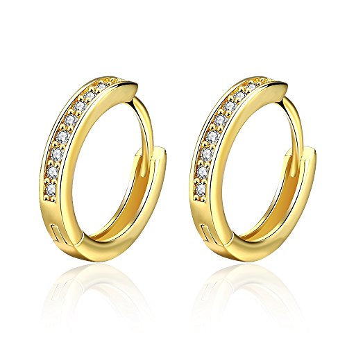 Cubic Zirconia 14K Yellow Gold CZ Small Huggie Diamond Hoop Earrings For Women Girls Hypoallergenic Crystal Hoops ()
