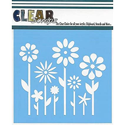"Clear Scraps Stencils 12/""x12/""-stripes"