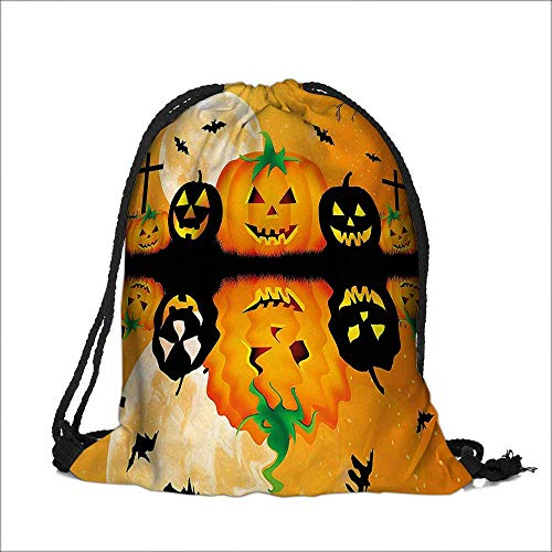 Draw pocket Polyester Backpack Spooky Carved Halloween Pumpkin Full with Bats and Grave with Large Pocket and Draw Strings 15