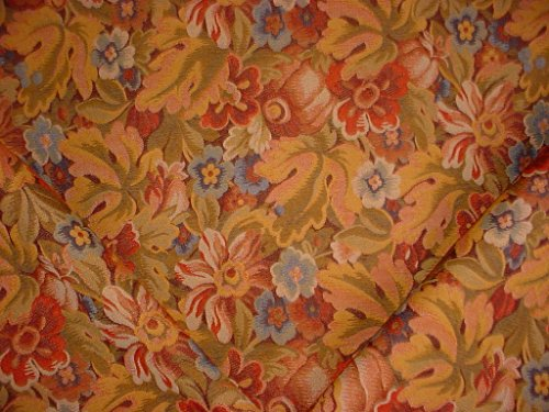 259H9 - Sienna Red / Copper / Blue Autumn Floral Blossom / Leaf Motif Novelty Accent Tapestry To the Trade Designer Upholstery Drapery Fabric - By the Yard (Kravet Floral Tapestry Upholstery Fabric)