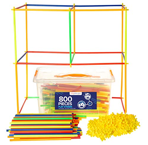(Play Straws Set - 800 Piece Toy Straw Connectors for Creative Building - Educational STEM Toys for Boys &)