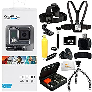 GoPro HERO+ (Wi-Fi Enabled) 32GB Bundle 12PC Accessory Kit. Includes 32GB MicroSD Card + High Speed Memory Card Reader + Head Strap + Chest Strap + Handheld Monopod + Premium Rugged Hard Case + MORE