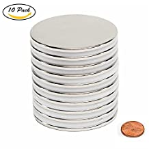"Be Magnet 10pcs 1.26""D x 0.08""H Powerful Neodymium Disc Magnets, Magntic Grade N52 Strong, Permanent, Rare Earth Magnets for Multi-Use"