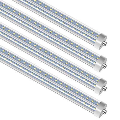 (T8 T10 T12 8FT LED Tube Light, 72W Single Pin FA8 Base 270 Degree V Shaped Tube, Ballast Bypass, Shatterproof, Fluorescent Replacement, 7200 Lumens, 6500K, Clear, Workshop, Warehouse, Garage - 50 Pack)