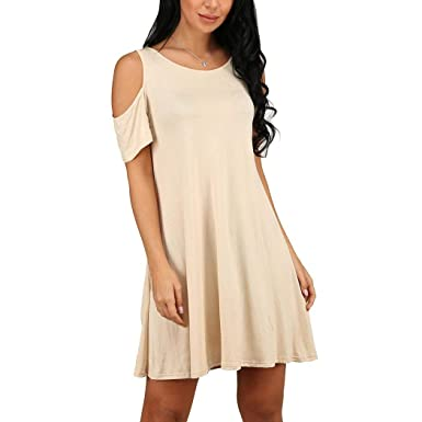 ea2fa4891d8 Hioplo Women's Cold Shoulder Dress Tunic Top Casual Swing T-Shirt Loose  Dresses with Pockets