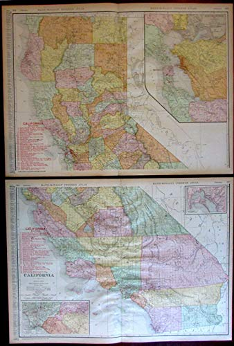 (California Railroads 1908 huge detailed Rand McNally 2-sheet state map)