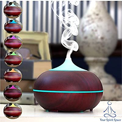Your Spirit Space 300ml Cherry Woodgrain Aromatherapy Essential Oil Diffuser Portable Ultrasonic Cool Mist Humidifier - 7 Color LED Lights Auto Shut-Off Home Office Bedroom Spa Yoga Living/Baby Room