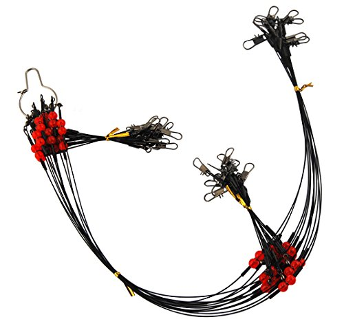 JSHANMEI 12pcs High-Strength Stainless Steel Fishing Rigs Black Fishing Wire Leaders Trace Lures with Snaps Beads Swivels Wire Leader 2 Arm ()