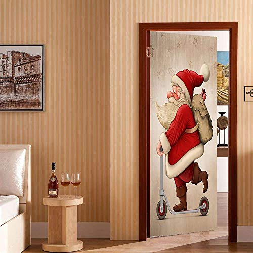 Amazon.com: TLDDDB Door Sticker Santa Claus DAR Un Regalo 3D ...