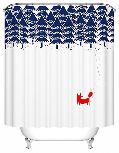 Fox Shower Bath Curtain Standard Size 72x72 Fabric Polyester