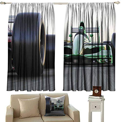 (DUCKIL Warm Curtain Cars Motorized Sports Theme Indy Cars on Asphalt Road with Motion Blur Formula Race Thermal Insulated Tie Up Curtain W55 xL45 Grey Black Green)