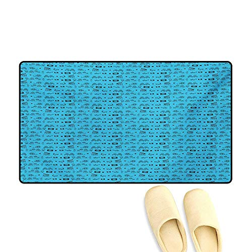 """Bath Mat,Doodle Style Cinema Movie Theater Icons Camera Seat Popcorn Clapper,Door Mat Small Rug,Pale Blue and Black,20""""x32"""""""