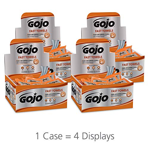 (GOJO Multi-Purpose Fast Towels with Counter Display, Fresh Citrus Scent, 80 Count Large Textured Individually Wrapped Wet Towels (Case of 4) - 6280-04)