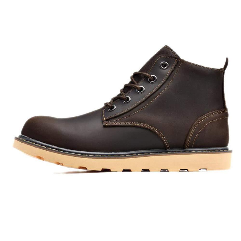 GZZ Schuhe Herren Stiefel Martin Herbst Und Winter Im Freien Retro Werkzeugausstattung Lederstiefel Rutschfeste High-Top Schuhe,Dark-braun-43