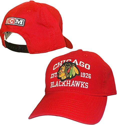 Ccm Vintage Cap (Chicago Blackhawks Red Vintage Logo Adjustable Slouch Hat CCM NHL Official)