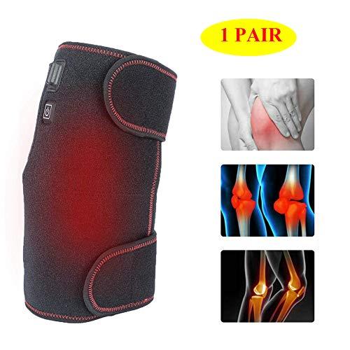 隣接するベット背が高い加熱膝ブレースサポート1ペア - USB充電式膝暖かいラップ加熱パッド - 療法ホット圧縮3ファイル温度で膝の傷害