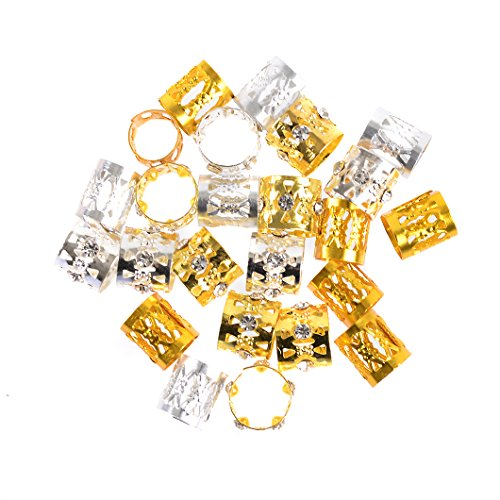 Hair Cuffs Metal Hair Braiding Beads with Crystal Aluminum Dreadlocks Accessories Spring Hair Jewelry Hair Decoration Hoops Hair Rings for Braids (175 Pcs Multiple Styles) by Messen by Messen (Image #3)