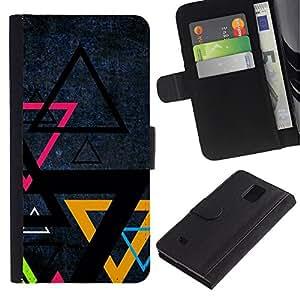 Billetera de Cuero Caso Titular de la tarjeta Carcasa Funda para Samsung Galaxy Note 4 SM-N910 / Triangle Color Art / STRONG
