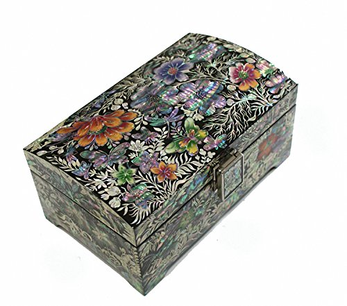 Mother of Pearl Flower Design Jewelry Box Nacre Najeonchilgi Master Handcrafted Jewellry Case by JMcore High Quality Jewelry Box