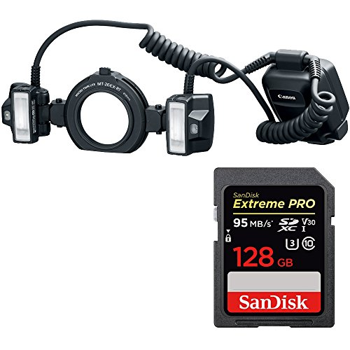 Canon Macro Twin Lite MT-26EX-RT Flash with SANDISK Extreme PRO SDXC 128GB UHS-1 Memory Card by Beach Camera