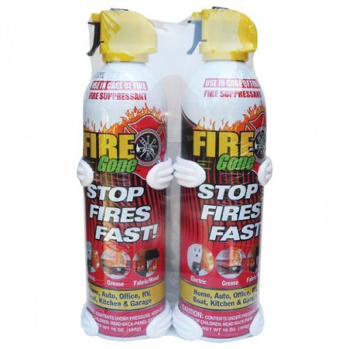 FIRE GONE 2-FG-7209 16-oz Fire Gone Suppressant with Bracket, 2 pk by FIRE GONE
