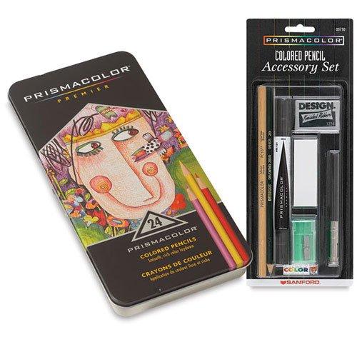 Prismacolor Premier Colored Pencils Tin Set of 24 with Bundle Accessories Set - Assorted Colors