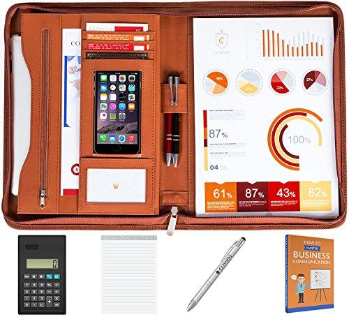 Cossini Premium PU Leather Business Portfolio / Padfolio with Zippered Closure and Interior 10.1 Inch Tablet Sleeve (BONUS: Writing Pad, Calculator, Pen & eBook)