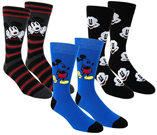 Disney Mickey Mouse Casual Crew Socks 2 Pair & 3 Pair Packs Multi-color (One Size, Blue/Black/Grey)