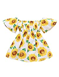 SUPEYA Baby Girls Sunflower Print Dress Short Sleeve Off Shoulder Sundress Outfits