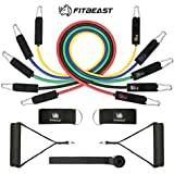 FitBeast Resistance Bands Set Workout Bands 11PC Exercise Bands with Door Anchor, Handles and Ankle Straps - 5 Stackable Up to 150 lbs- for Resistance Training, Physical Therapy, Home Workouts, Yoga