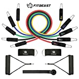 Cheap FitBeast Resistance Bands Set Workout Bands 11PC Exercise Bands with Door Anchor, Handles and Ankle Straps – 5 Stackable Up to 150 lbs- for Resistance Training, Physical Therapy, Home Workouts, Yoga