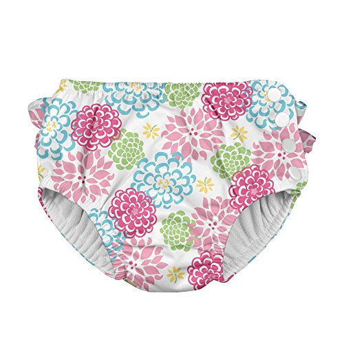i play. Baby Girls' Ruffle Snap Reusable Absorbent Swim Diaper, White Zinnia, 12 Months from i play.