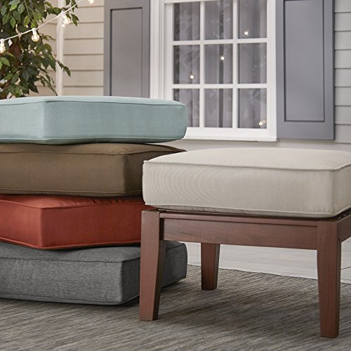 Inspire Q Yasawa Brown Wood Outdoor Ottoman Stool with Cushion Oasis Blue by Inspire Q