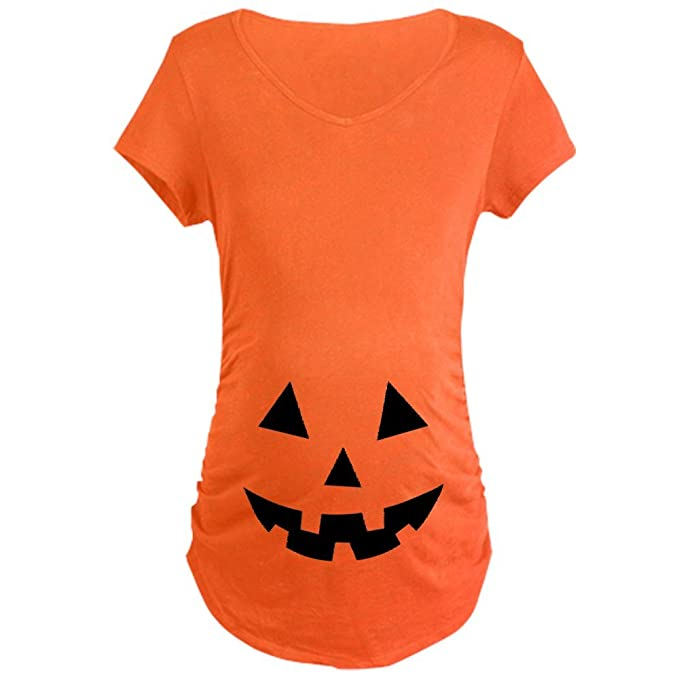 b696d3b315a26 Image Unavailable. Image not available for. Color: CafePress Pumpkin Face  Halloween Cotton Maternity T-shirt ...
