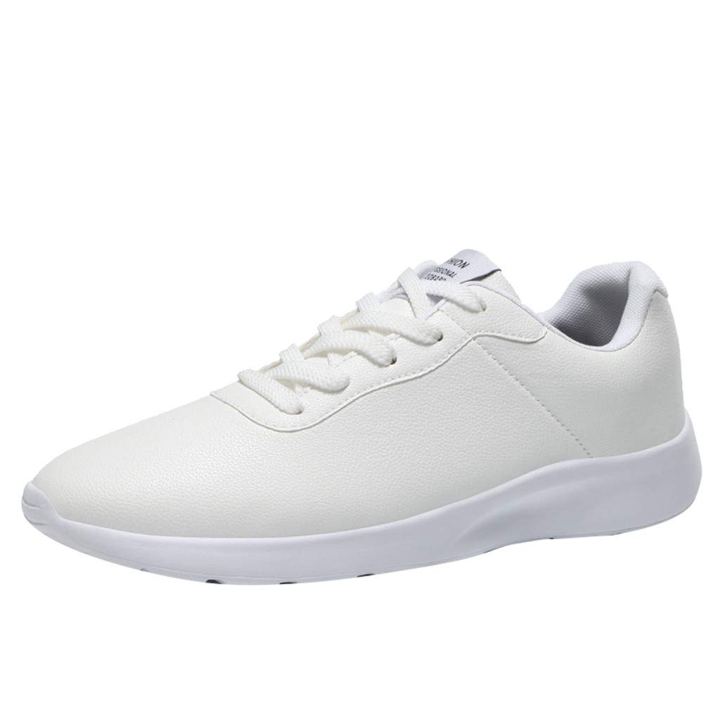 Couple Leather Sneakers Men Women Lace-up Low-Top Breathable Wear-Resistant Anti-Slip Solid Color Casual Flat Shoes