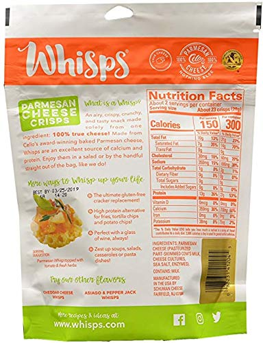 3 Pack Value: Cello Whisps Pure Parmesan Cheese Crisps (Premium pack)