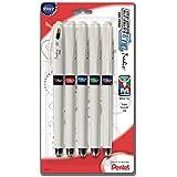 Pentel EnerGel Tradio Pearl Liquid Gel Pen, 0.7mm, Medium Line Capped, Assorted Ink, 5 Pack (BL117WBP5M)